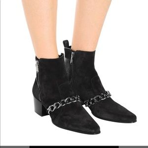 Black suede balmain booties with chain